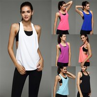 Wholesale Women Sleeveless Running Vest Tank Tops Quick Dry Smock Loose Vest Gym Fitness Sport Singlet for Jogging running feminina