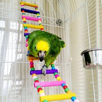 Wholesale Pet Bird Toys Wood Ladder Climb Parrot Macaw Cage Swing Shelf Parrot Bites Play brinquedo FEN