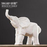 Wholesale home decorations animal elephant figurine ceramics crafts creative modern fashion office sculpture