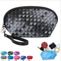Wholesale Cosmetic Make Up Weave Bags for Women Semicircle Gradual Change Knitting Handbag