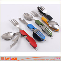 Wholesale Multi function Outdoor Camping Picnic Tableware Stainless Steel Cutlery in Folding Spoon Fork Knife Bottle Opener