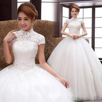 Wholesale Bride marriage wedding dress new Korean Qi shoulder wedding large size shoulder bag collar was thin winter