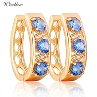 accents and gifts - Gorgeous K Yellow Gold Plated Three Round Blue Sapphire and CZ Accent Hollow U Hie Hoop Earrings Jewelry for Women bijoux