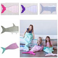 Wholesale Kids Mermaid Tail Sleeping Bags Mermaid Tail Blankets Shark Blankets Cocoon Mattress Sofa Bedroom Blankets Camping Travel Blankets A1236