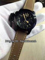 al por mayor relojes de gran tamaño-Nuevo Lujo Chronofighter Oversize Negro Sahara Negro PVD Acero Cronógrafo Cuarzo Gents Reloj 2CCAU.B02A Correa De Cuero Relojes De Hombre
