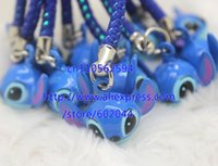 bell key ring - Anime Cartoon Stitch Jewelry Copper Ring BeLL Pendant With Strap Cellphone Key Chains Handbags A016