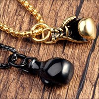 acrylic glove box - Top Grade Smooth Boxing Gloves Pendant Nacklace Gold Black Stainless Steel Chain Jewelry Men s Xmas Gift