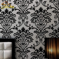 Wholesale Euroart Damask Luxury Velvet D Flocking Non Woven Embossed Wallpaper Living Room Bedroom Background Wall Home Decor Wallpapers