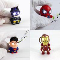 5-7 Years action figures superheroes - NEW LED superhero Batman Keychain pendant accessories spiderman Iron man luminous with sound action figures key chain DHL C674