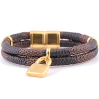Wholesale Double Leather Bracelet and K Gold Plated Stainless Steel Lock Charm Bracelet Bangle With Magnet Clasp For Women