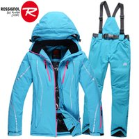 Wholesale Newest winter womens ski suits waterproof female snow jackets and pants sets thicken breathable snowboard clothing