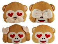 Wholesale 35 cm Cute Monkey Emoji Pillow Stuffed Plush Throw Pillows Chair Couch Cushion No Saying No Looking No Listening Monkey LJJP354