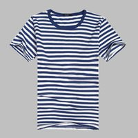 Wholesale Classic retro sea striped shirt round neck short sleeved T shirt men