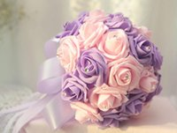 Wholesale Wedding bridal Bulk Flowers Lace Rose Flowers With Crystal Rhinestone Bridal Bouquets Wedding Supplies Bride Holding Brooch Bouquet
