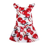 apple baby clothes - Fashion Baby Girl Kids Dress Summer Short Sleeve Kids Clothing Girl Clothes Toddler Girl Designer Apple Children Clothing Y