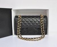 al por mayor cuero acolchado del bolso negro-Fab Precio Medio 25.5cm Classic Quilted Womens Negro Genuino de piel de cordero Cuero Plaid Doble Flaps bolso de hombro Bolso de cadena Gold Hardware
