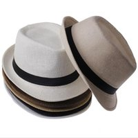 Wholesale Vogue Men Women Straw Hats Soft Fedora Panama Hats Outdoor Stingy Brim Caps Straw Jazz Hat Beach Caps