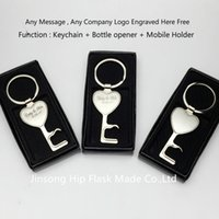 Wholesale 100pcs Personalized zinic keychain with bottle opener and mobile holder Personalized logo Free gift box packing