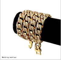 Wholesale Hip hop Mens High quality K Gold Plated AAA Bling Iced Out CZ Crystal Cuba watchband Miami Cuban Chain Bracelets Necklaces Jewelry