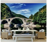 asia lakes - 3D photo wallpaper custom d wall murals wallpaper mural The blue sky white cloud mountain forest lake landscape setting wall is little tunn