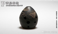 ancient china pottery - Chinese Ancient Xun Flute Black Pottery Musical Instruments China Ethnic Music Vertical Wind Flauta Holes Beginner