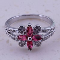 Wholesale Noble Red Ruby White Topaz Silver Platinum Plated Ring For Women Fashion Jewelry Size C0001