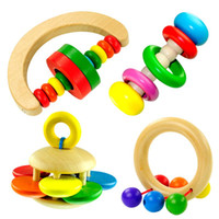 Wholesale Baby Toys Baby Rattles Mobiles Colourful Ifant Rainbow Geometric Rattles Baby Musical Wooden Toys Gift