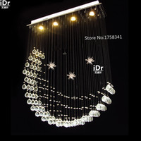 bedroom curtains designs - modern popular design crystal lamp luxury curtain wave crystal led pendant lights High end European style L800xW200xH1000mm