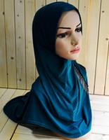 Wholesale A005 New style Fashion beading Muslim Women Hijabs per dozen Ice Silk Islamic Female Jilbabs