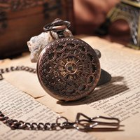 acrylic cages - Bronze Cage Full Hunter Retro Mechanical Pocket Watch Men Military Steampunk Skeleton Necklace Luxury Gift Vine Watch