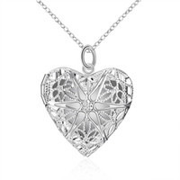 Wholesale Long Set Chain - Long Necklace Charm Romantic Heart Necklace Mesh Flower Photo Locket Frame Pendant Explosions Silver Necklace Long Set Friend Bib Necklace