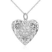 acrylic flower pendant - Long Necklace Charm Romantic Heart Necklace Mesh Flower Photo Locket Frame Pendant Explosions Silver Necklace Long Set Friend Bib Necklace