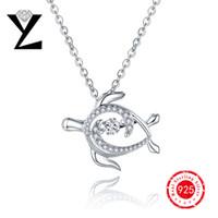 arrival turtles - 2016 New Arrival Sea Turtle Sterling Silver Women Pendant Dancing Stone CZ Diamond Ocean Series Designer Brand Pendant Jewelry DP58840A