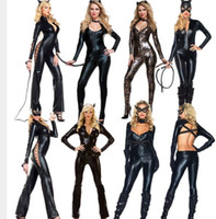 Wholesale Sexy PVC Rubber Lingerie Leather Catsuit Catwoman Sexy Costume Style With Size M XL
