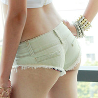 Wholesale Sexy Low Rise Skinny Jeans - Light Blue Sexy Tassel Denim Booty Shorts Vintage Cute Hot Jeans Low Rise Waist Micro Mini Short Erotic Culb Wear FX1035