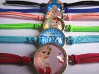 Wholesale 24pcs Mixed models frozen Elsa Anna Bracelet for Girls Glass bracelet Handcuffs bracelet Cartoon Movie bracelet