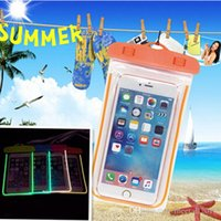 Wholesale 100 Waterproof dry Glowing Luminous Bag Case Cover for iPhone s SE Universal Cell phones Swimming bags Dry Storage pouch