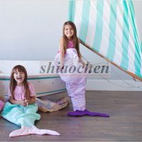 Wholesale Kids Mermaid Tail Sleeping Bags Mermaid Tail Blankets Shark Blankets Cocoon Mattress Sofa Bedroom Blankets Camping Travel Blankets A1236 ps