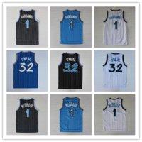 Wholesale Orlando Throwback Basketball Shaquille O Neal Shaq Jersey Shirts Stitched Tracy McGrady Penny Hardaway Jersey Black White Blue