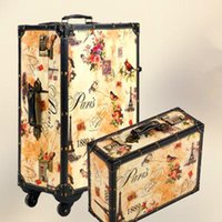 Wholesale 20 Inch Retro Trolley Case Spinner wheel PU leather Landscape painting waterproof shock Travel Suitcase Rolling Luggage