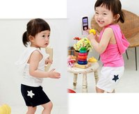 beach set for kids - 2016 Summer Kids Clothing Baby Garment Sport Suit Children Sets Beach Sleeveless Vest Clothing with Hat Suitable for Years