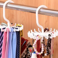 Wholesale Hoomall Mini White Plastic Tie Rack Rotating Hook Tie Holder Piece Holds Ties Belts Scarves Hanger