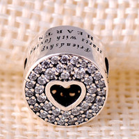 Wholesale PD New Arrival Sterling Silver Charms Hollow middle heart pave crystsal friendship Beads women jewelry Fit for Pandora Bracelets