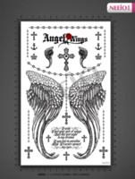 beautiful cross tattoos - Women beautiful temporary tattoos angel wing cross word body back waterproof large transfer tattoo stickers high quality designs