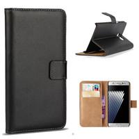 Stands de bobine France-Pour Samsung Note 7 S7 bord Holder réel en cuir véritable portefeuille de carte de crédit stand Case Cover SCA205