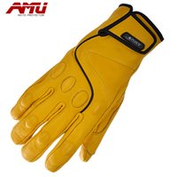 Wholesale AMU Top Guantes Fashion Glove real Leather Yellow Full Finger Moto Men Motorcycle Gloves Motocross Protective Gears Bike gants moto