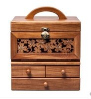 Wholesale Hand held portable large multilayer make up box wood make up box