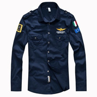Wholesale 2016 New men s spring Aeronautica militare Air Force One shirt men brand bomber long sleeve shirts men s causal Embroidery shirt