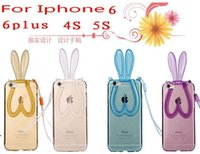 Wholesale Hot Rabbit Ear Phone Case For iPhone plus iPhone5S iPhone4S colors iphone holder TPU Soft shell Protection Leather Cases Free DHL