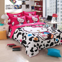 Wholesale Cute Milk Hello Kitty Bedding Set Kids Present Duvet Cover Bed Sheet Pillowcase Set for Girls Bedclothes Gift